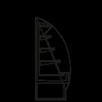 Bočný rez - SARA 1600 M2 - Chladiace prevedenie, výška 1600