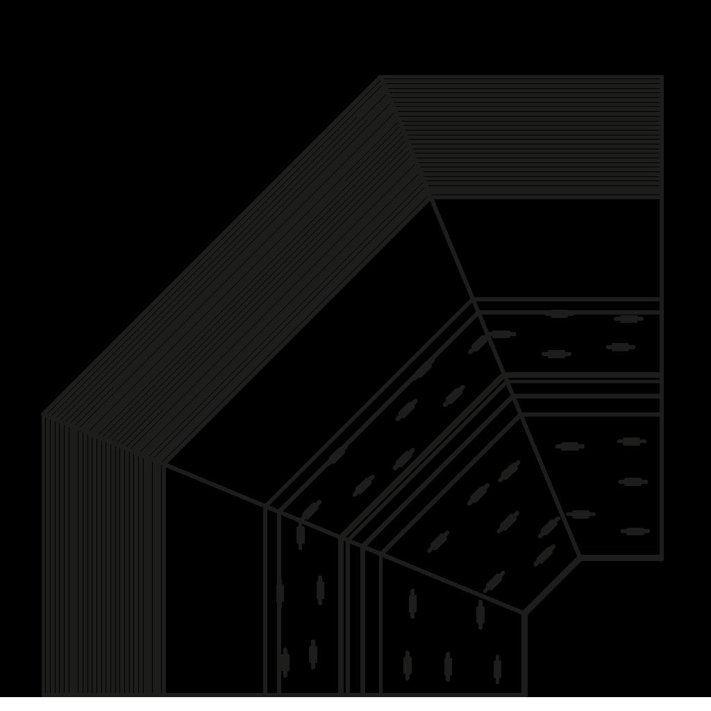 разрез  - NINA 45°E,45°I,90°E,90°I - Угловые модули - вентилируемое охлаждание