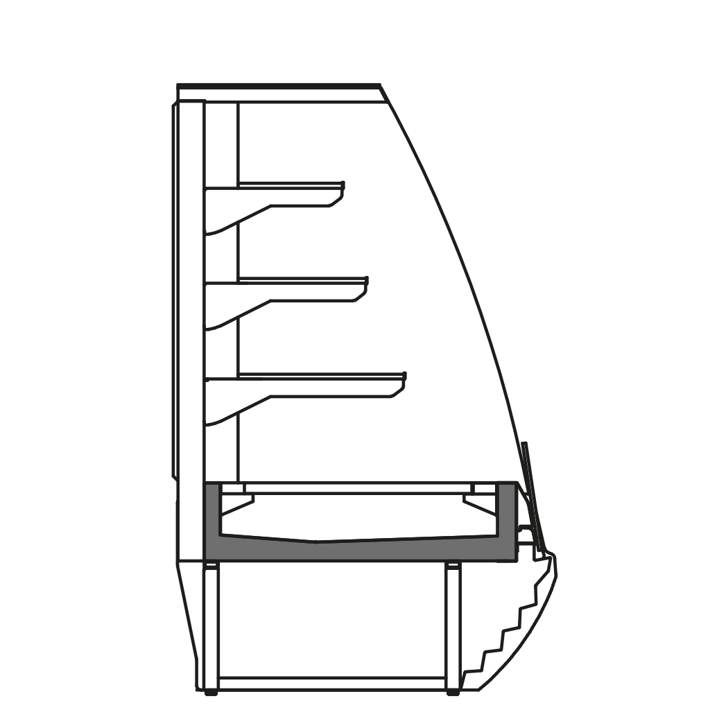 разрез  - LINDA VSS - Вентилируемое охлаждение для самообслуживания