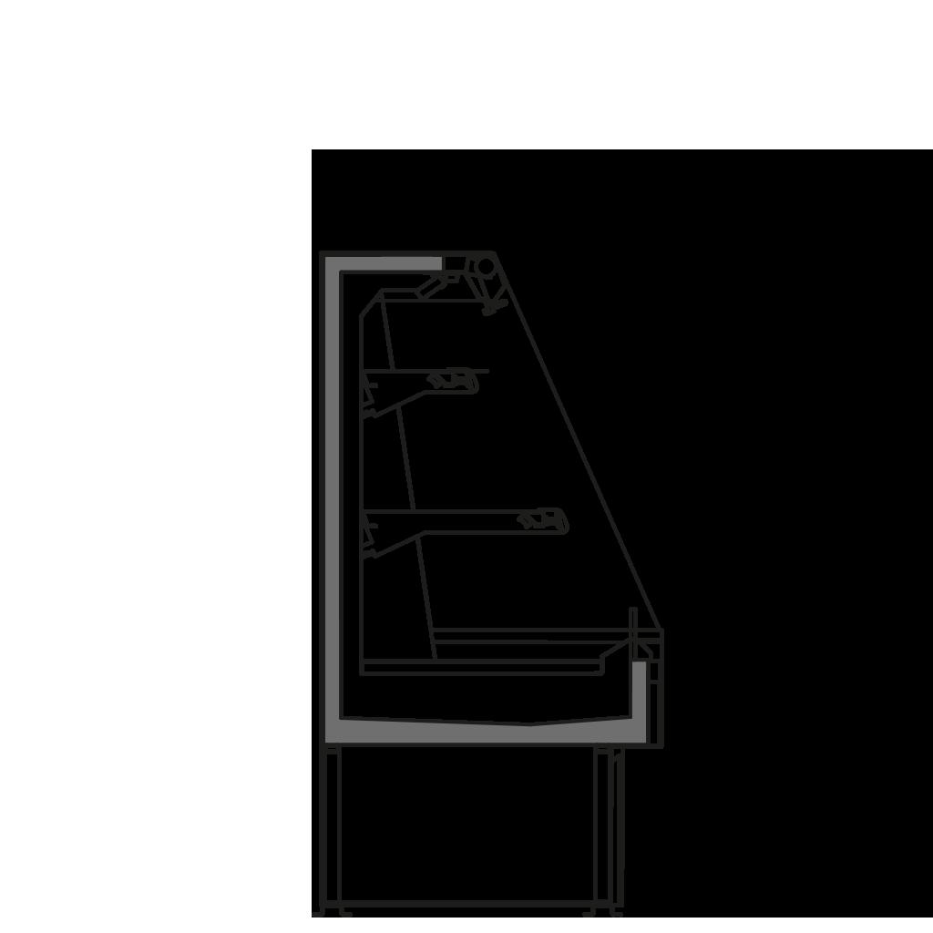 Seitenschnitt - SARA Q 1300 M1 - Kühlversion, Höhe 1300