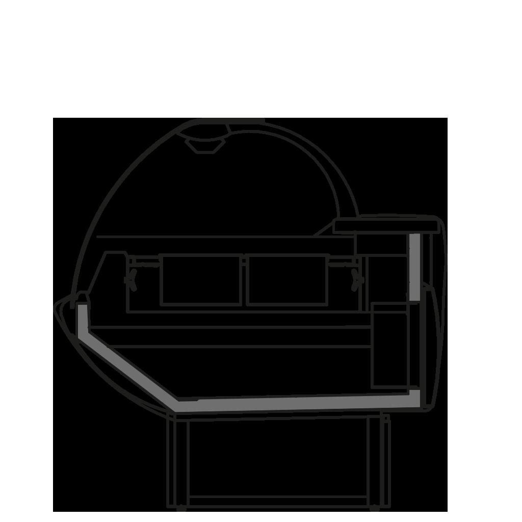 Seitenschnitt - NEWKLARA TPI - Heisse Theke mit trockener Heizung unten