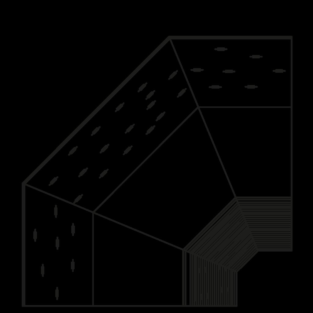 Seitenschnitt - NEWZITA 90°l,90°E 3D - Ventilierte Eckkühlung 3 teilig
