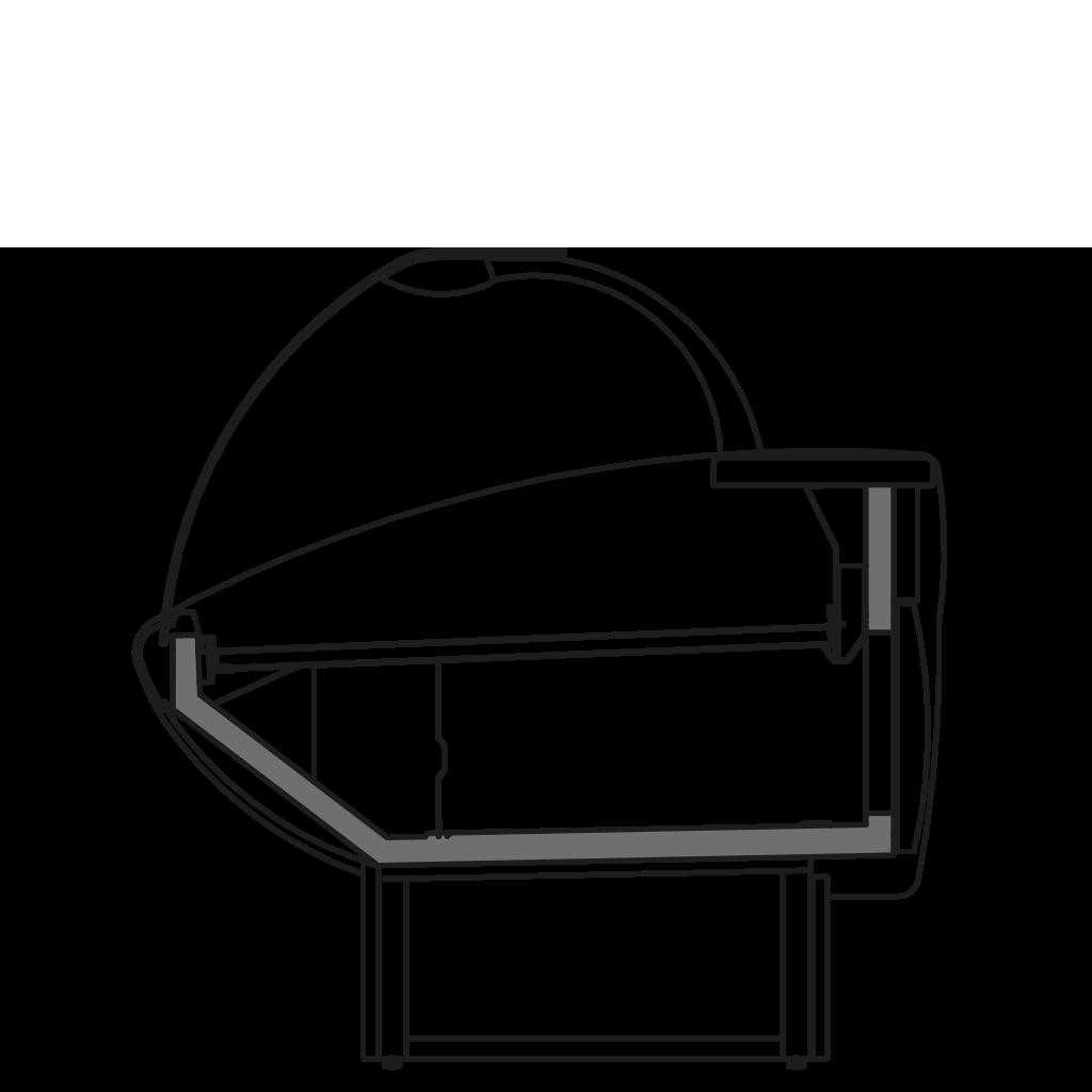 Seitenschnitt - NEWKLARA V - Ventilierte Kuhlung der Bedienungstheken