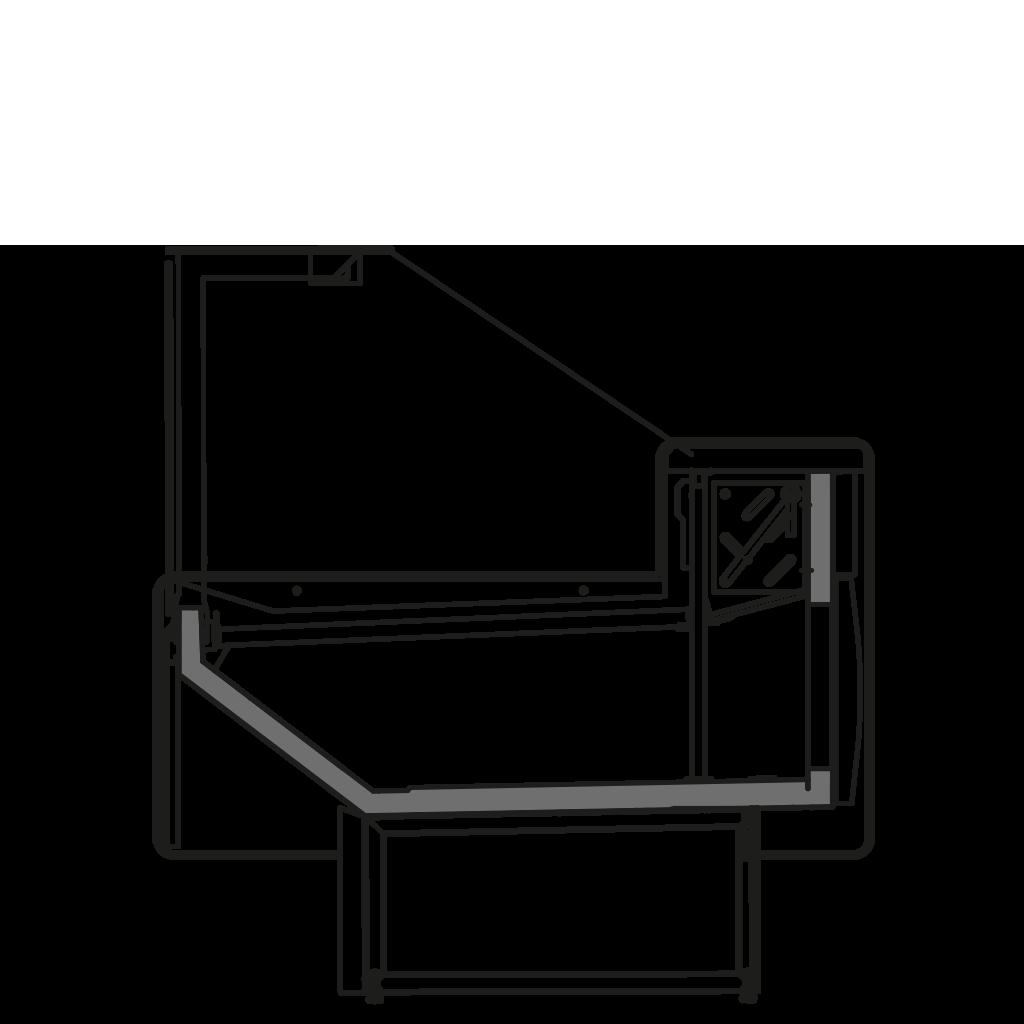 Seitenschnitt - NEWZITA S - Statische Kühlung Bedienungs-Ausführung