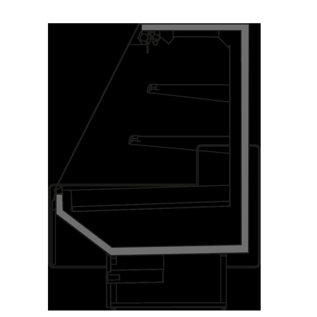 Seitenschnitt - NEWZITA SEMI - Niedriger Wandkühlregal zusammenstellbar in Linien