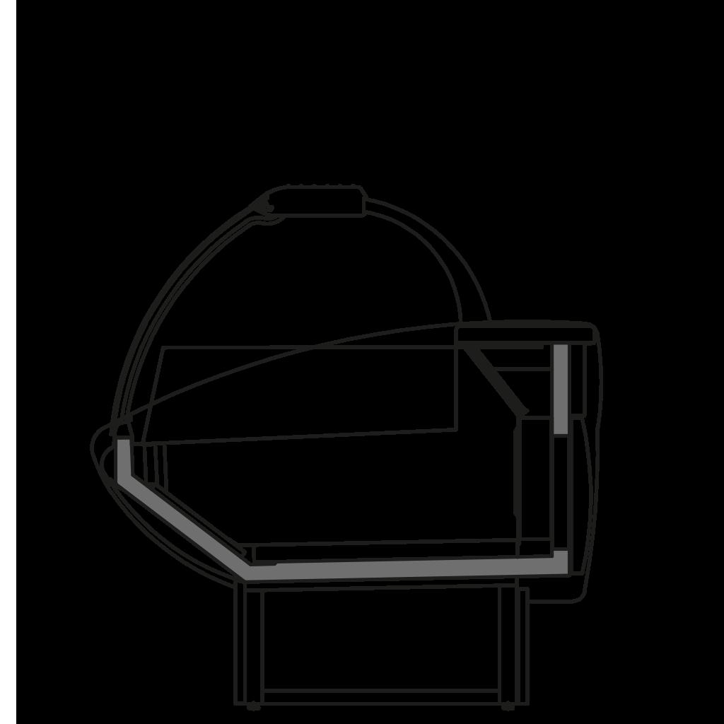 разрез  - NEWKLAUDIA NT - низкотемпературная витрина для замороженных полуфабрикатов