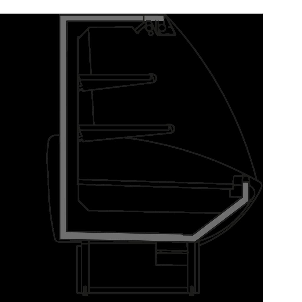 разрез  - NEWKLAUDIA SEMI - Полу горка стывуемая в линии с витринами