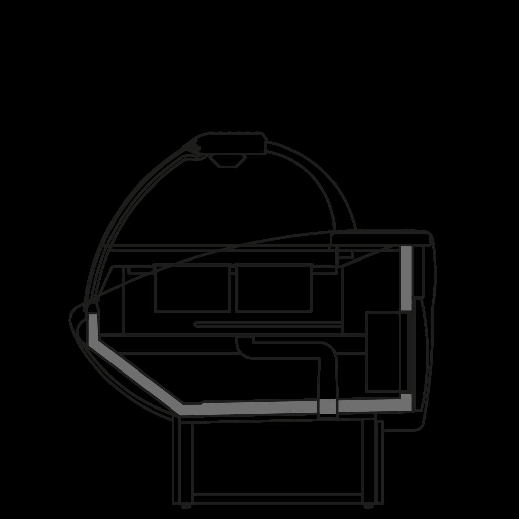 разрез  - NEWKLAUDIA TPBM - тепловая витрина водянной нижний подогрев (водяная баня)