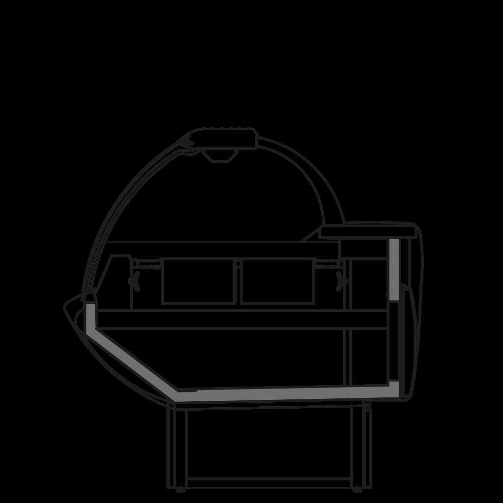 разрез  - NEWKLAUDIA TPI - Тепловая витрина с сухим нижним подогревом