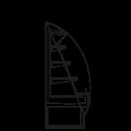 Bočný rez - SARA 1600 M1 - Chladiace prevedenie, výška 1600