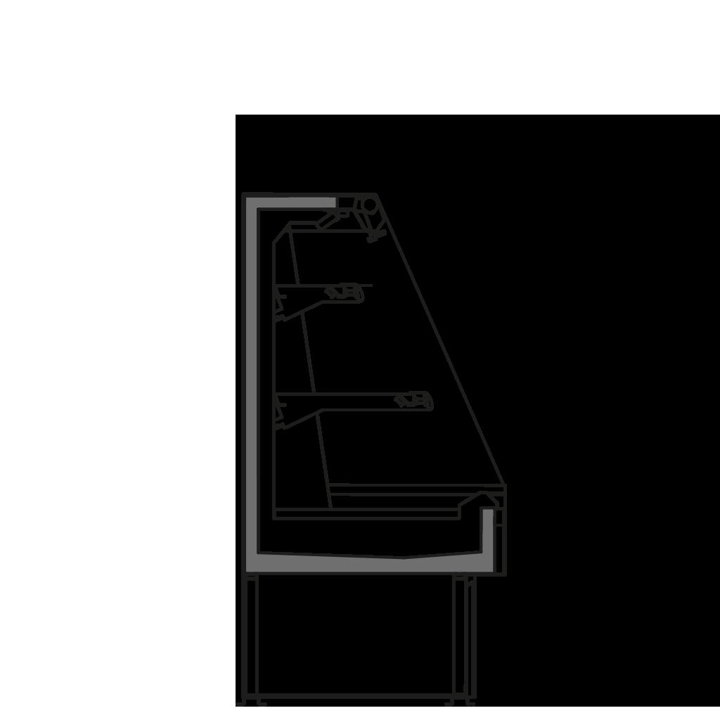 Seitenschnitt - SARA Q 1300 M2 R290 - Kühlversion, Höhe 1300