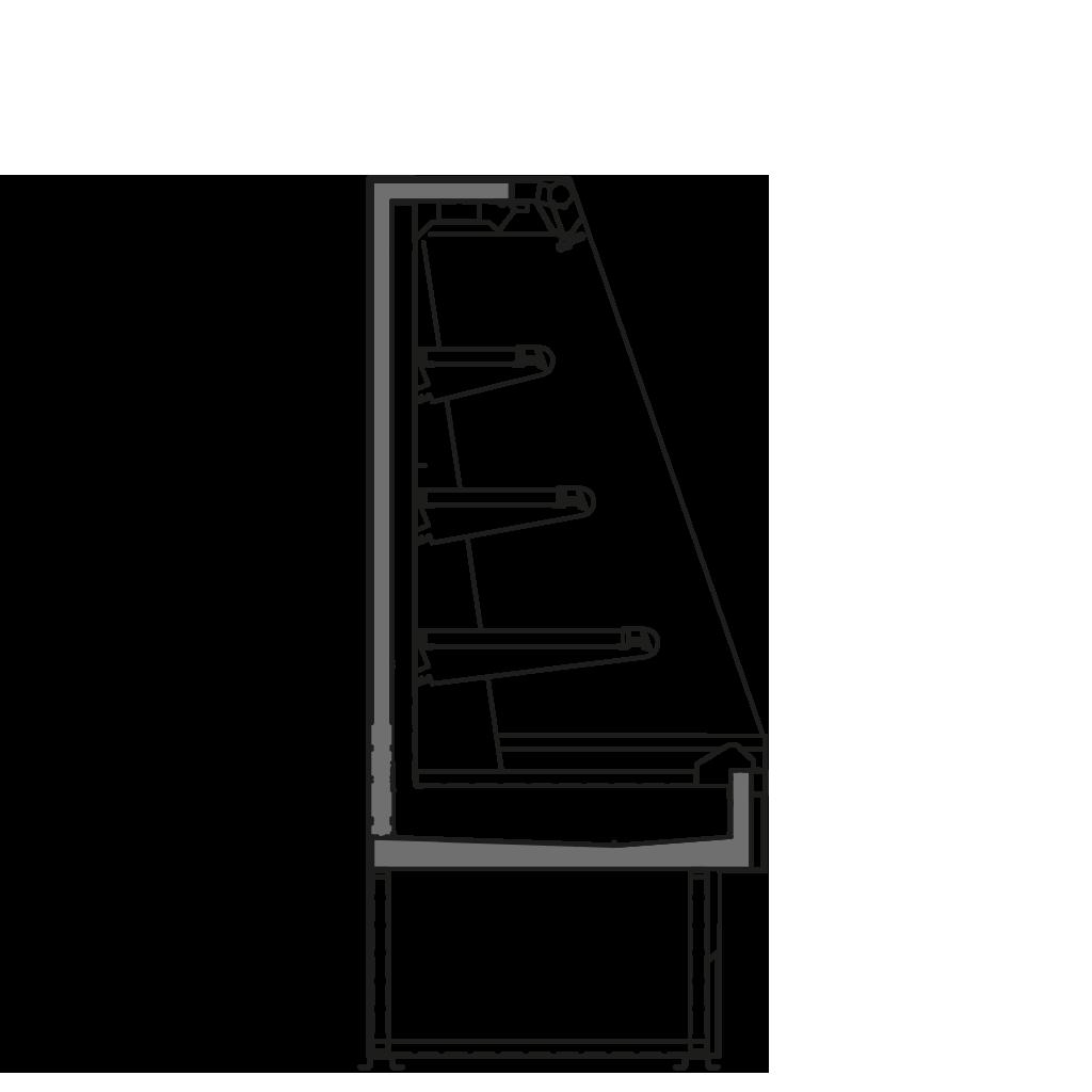Seitenschnitt - SARA Q 1500 M2 R290 - Kühlversion, Höhe 1500