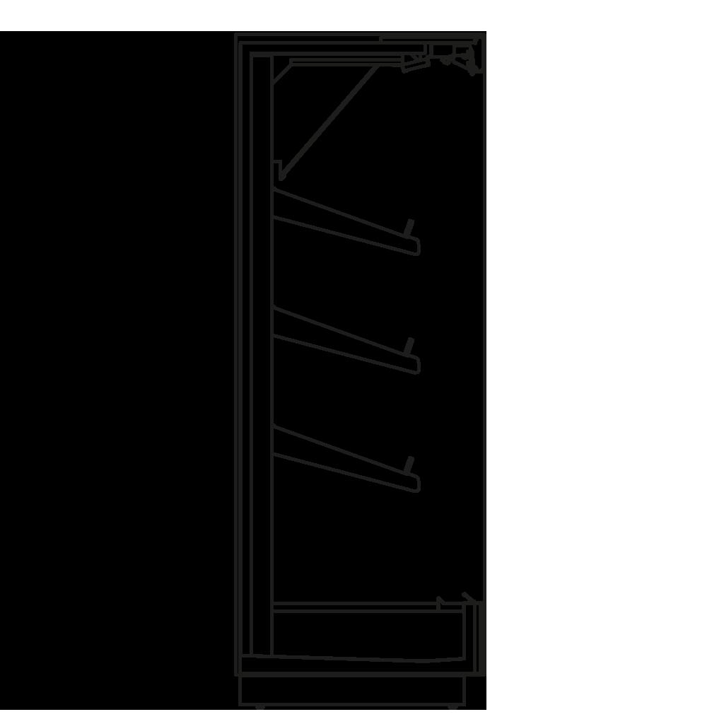 Seitenschnitt - KALIFORNIA Q 450 H - Kühlversion, Regal 450