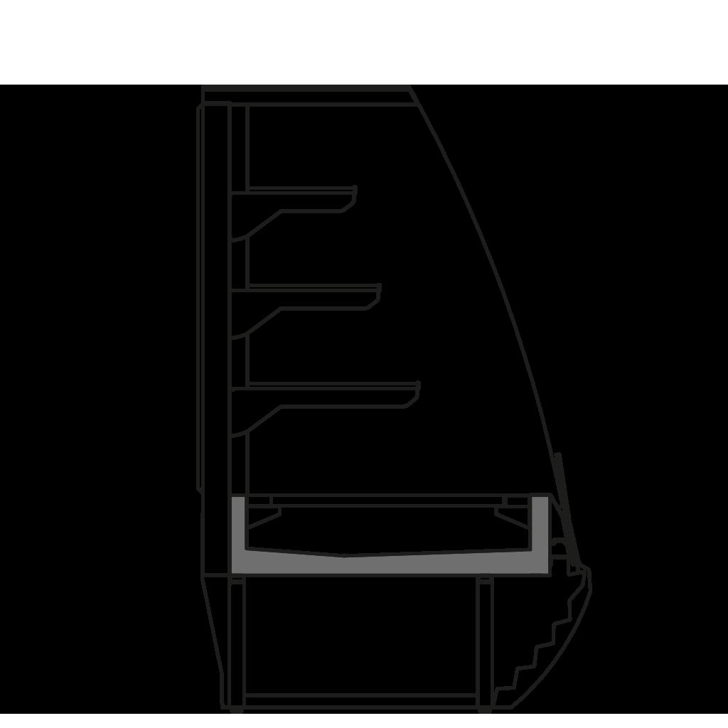 разрез  - LINDA PSSP - Витрина для выпечки для самообслуживания с фикс. задней стенкой
