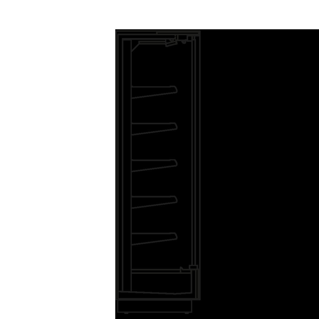 Bočný rez - KALIFORNIA D 300 M2M1 - Chladiace prevedenie, polica 300