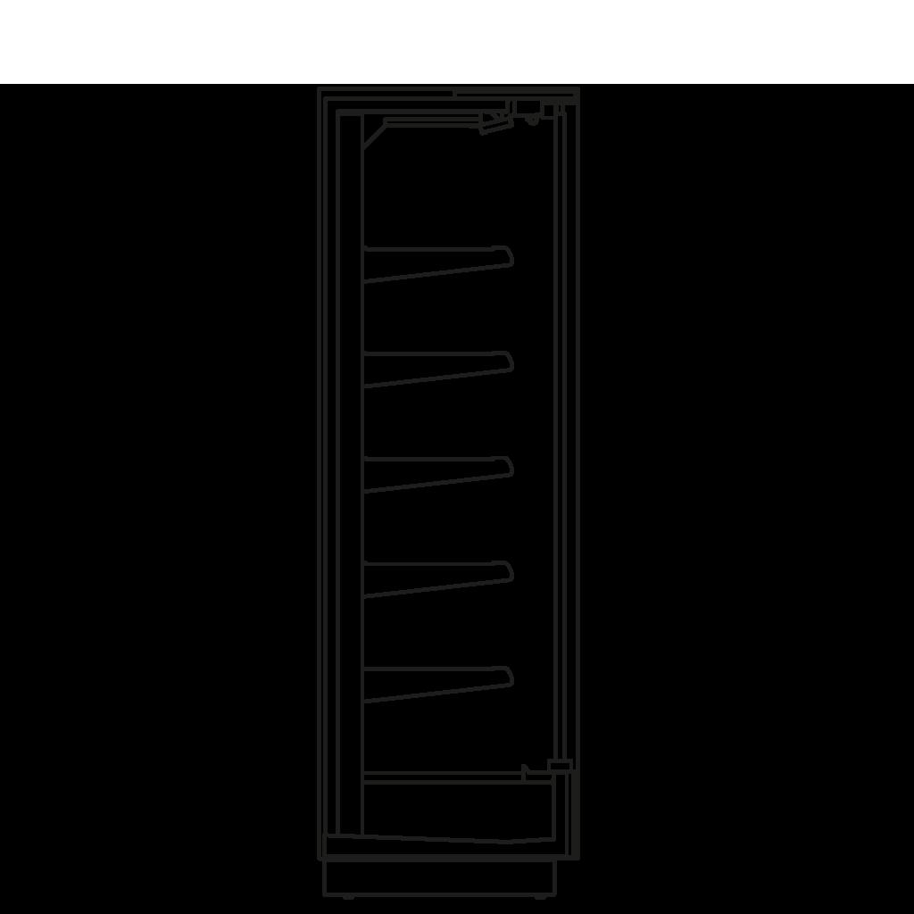 Bočný rez - KALIFORNIA D 350 M2M1 - Chladiace prevedenie, polica 350