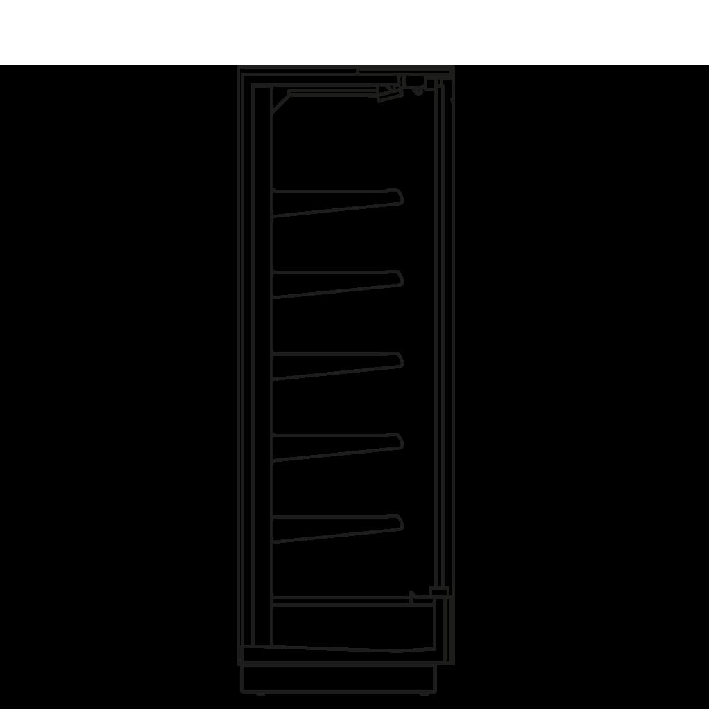 Bočný rez - KALIFORNIA D 400 M2M1 - Chladiace prevedenie, polica 400