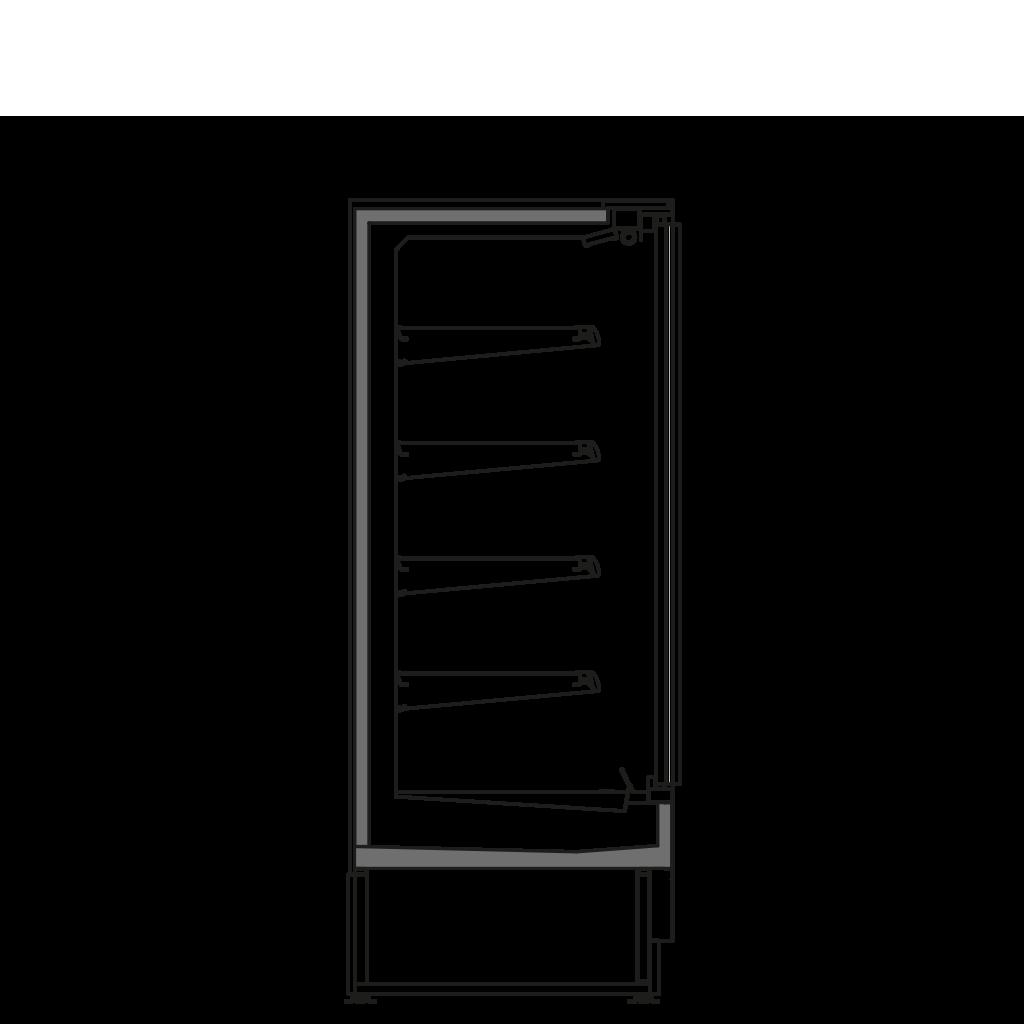 Bočný rez - FILIP D 450 M2M1 - Chladiace prevedenie, polica 450