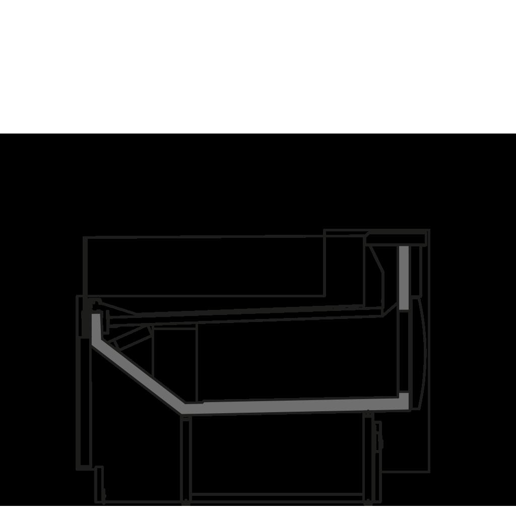 Seitenschnitt - ZOE VSS - Ventillierte Kühlung Selbstbedienungs- Ausführung