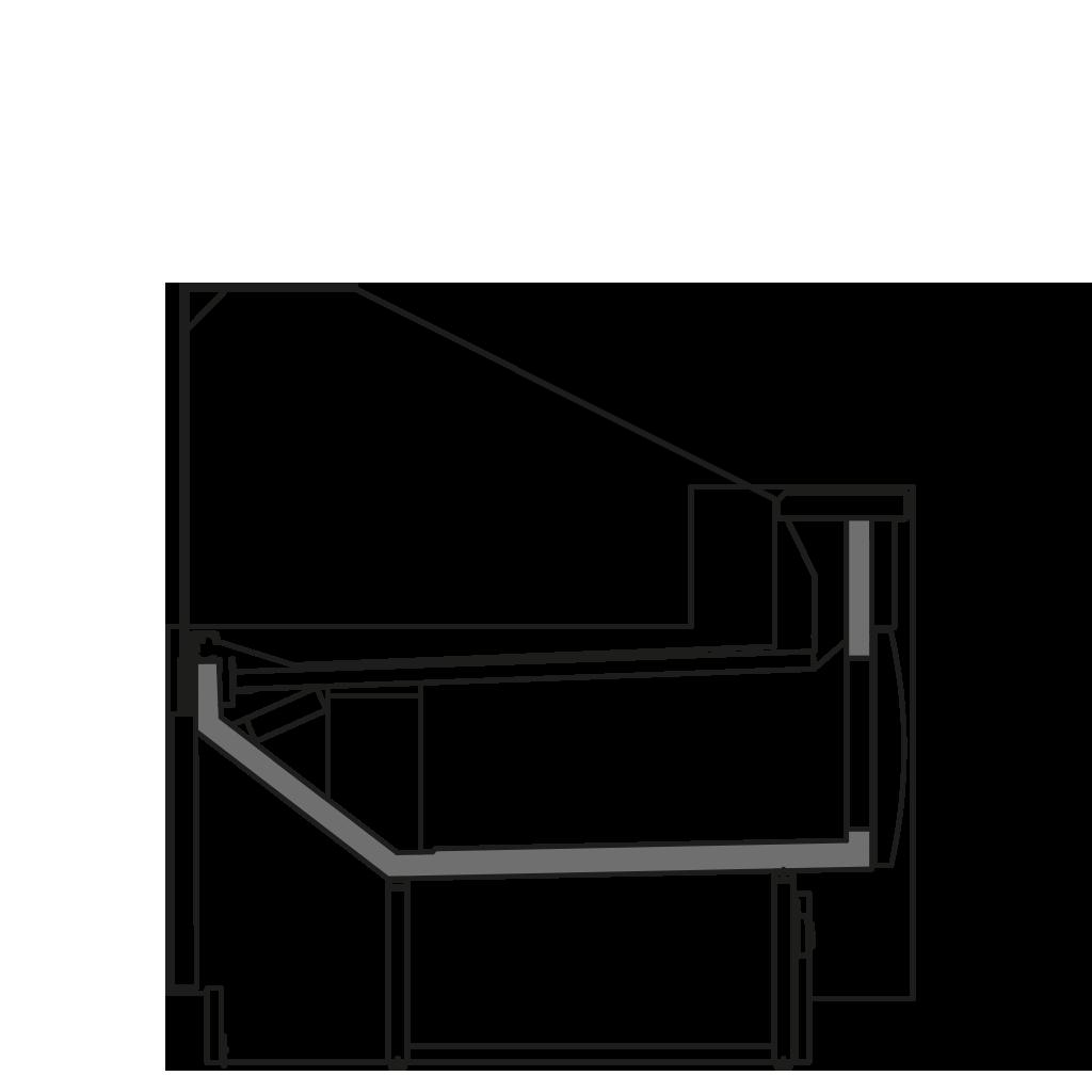 Seitenschnitt - ZOE V - Ventilierte Kühlung Bedienungs- Ausführung