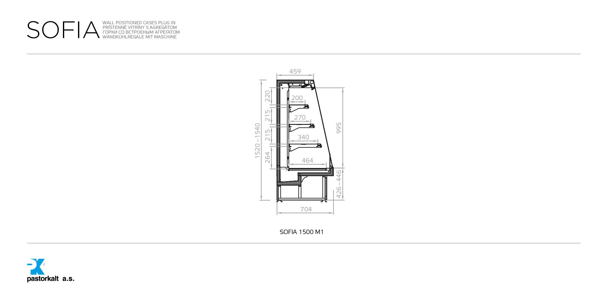 разрез  - SOFIA 1500 M1 - Kühlversion, Höhe 1500