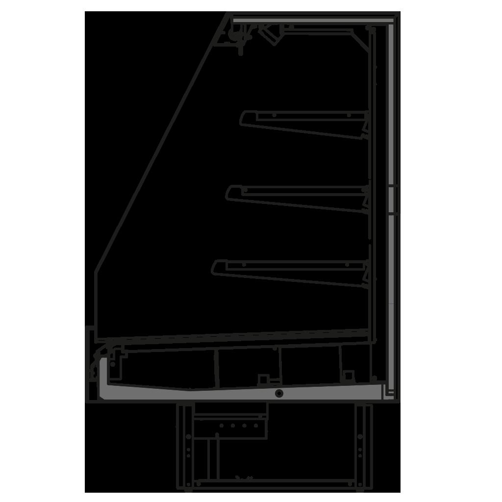 Seitenschnitt - KUBUS TC - Niedriges Wandkühlregal verbindbar in die Linie